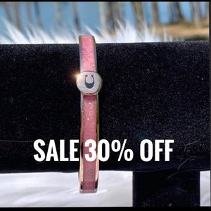 Coach Iconic Glitter Pink Enamel Bangle Bracelet